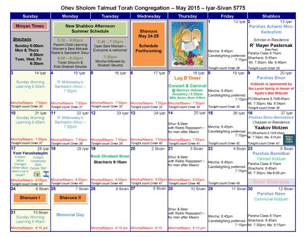 OSTT Calendar May 2015
