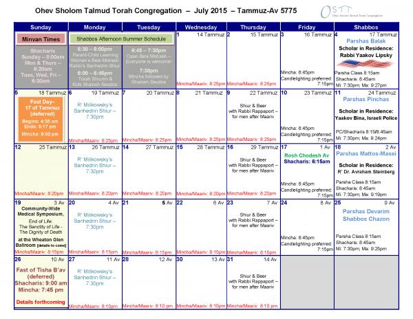 OSTT  Calendar July 2015