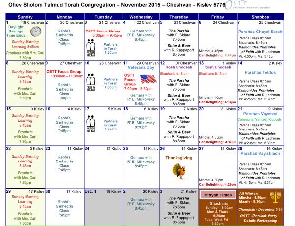 OSTT November Calendar 2015