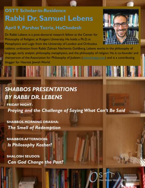 Scholar In Residence - Rabbi Dr Samuel Lebens