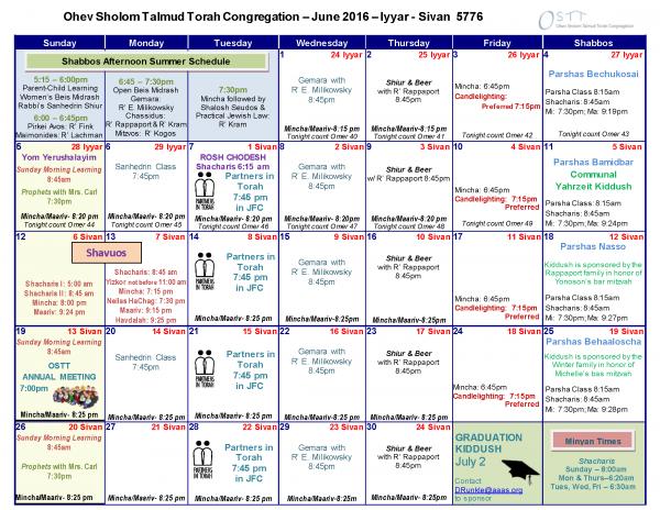 OSTT June 2016 Calendar